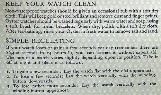 instructions on self regulating a watch
